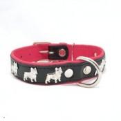 Collar de piel con diseño de bulldog francés negro y rosa