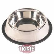 Comedero de acero inoxidable con anillo de caucho trixie