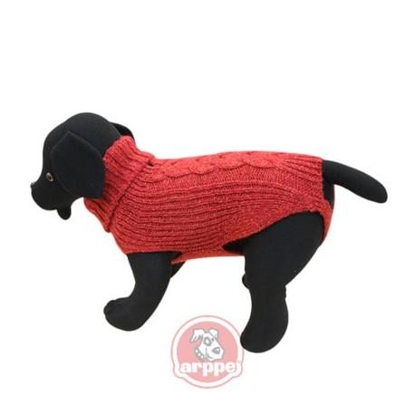 Jersey de lana cordelux rojo para perros