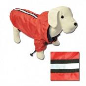 Chubasquero de color rojo y con reflectante para perros