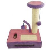Árbol rascador lila y rosa con juguetes para gatos ibañez