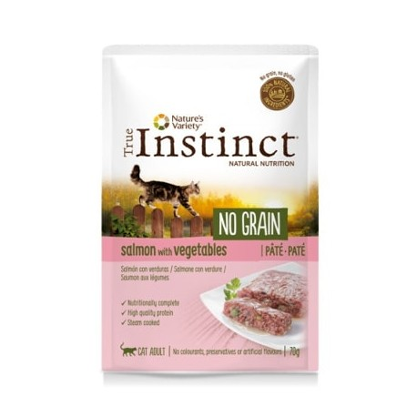 True Instinct No Grain Paté de salmón y verduras para gatos