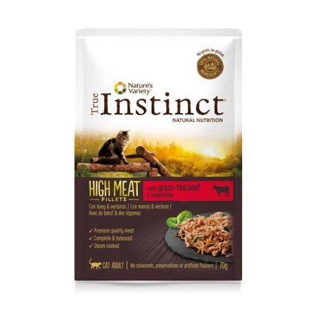True Instinct High Meat de buey y verduras para gatos