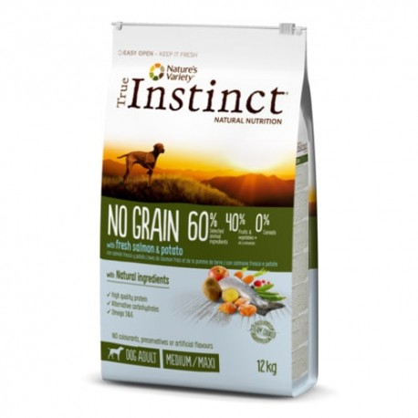 True Instinct No Grain Adult Salmón Medium Maxi pienso perro