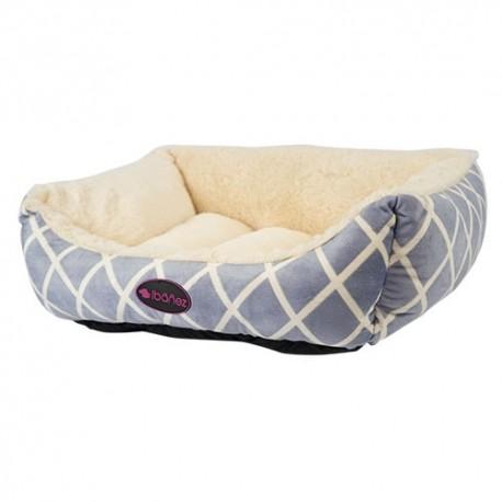 Cama beige con rombos azules para perros y gatos