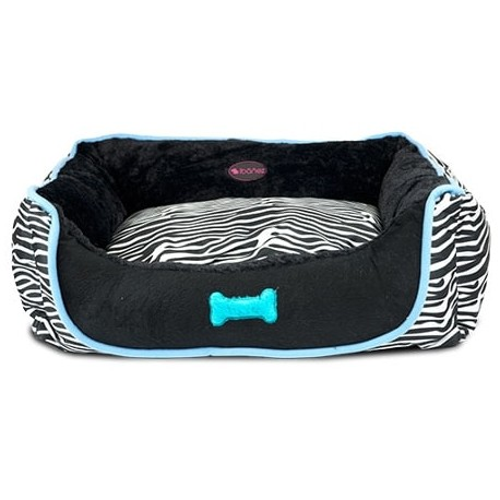 Cama de cebra azul y negra para perros y gatos