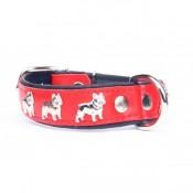 Collar de piel con diseño de bulldog francés rojo y negro