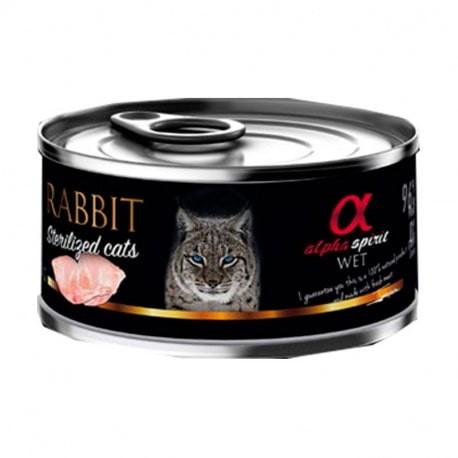 Alpha Spirit Comida Húmeda de conejo para gatos esterelizados