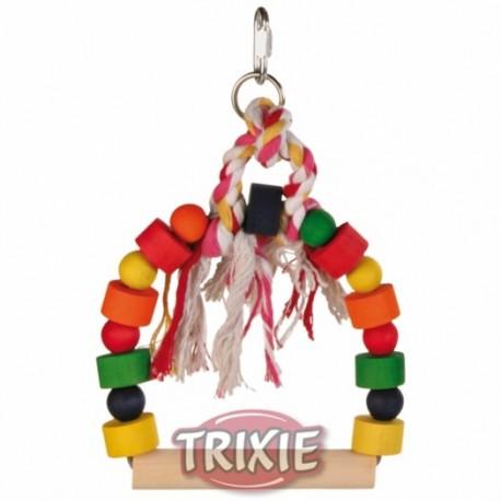 Arco columpio con bloques de madera para jugar trixie