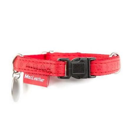Collar Macleather rojo de nylon y piel