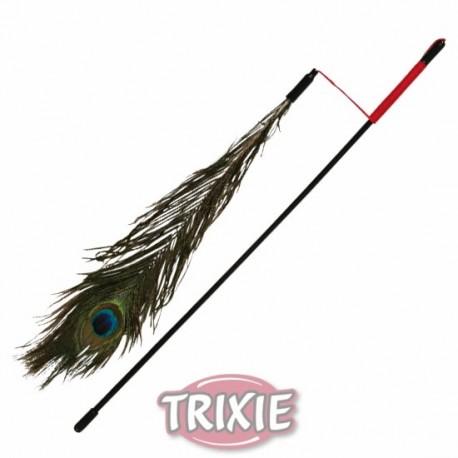Varita de juego con pluma de pavo real