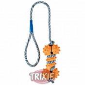 Mordedor hueso de caucho con cuerda fluorescente trixie