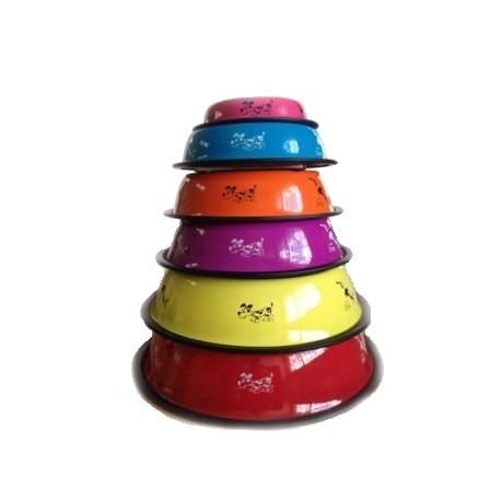 Comedero de metal antideslizante en colores surtidos dapac