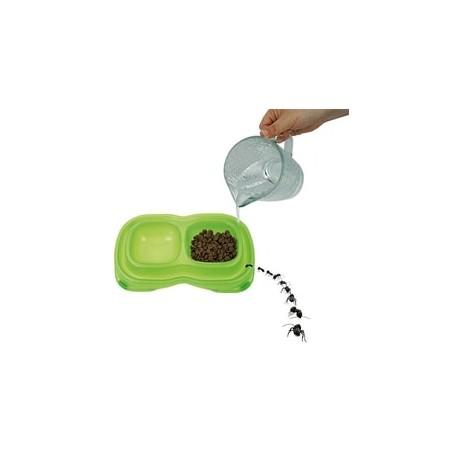Comedero bebedero doble de plástico y antihormigas